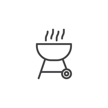 BBQ grill line icon. linear style sign for mobile concept and web design. Charcoal Barbecue outline vector icon. Symbol, logo illustration. Pixel perfect vector graphics