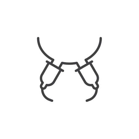 Symbol für die automatische Melk-Euterlinie. Lineares Zeichen für mobiles Konzept und Webdesign. Milcheuter-Umriss-Vektor-Symbol. Symbol, Logoillustration. Pixelperfekte Vektorgrafiken