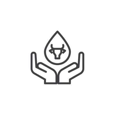 Drop of milk in hand line icon. linear style sign for mobile concept and web design. Cow milk drop and hands outline vector icon. Dairy product symbol, logo illustration. Pixel perfect vector graphics