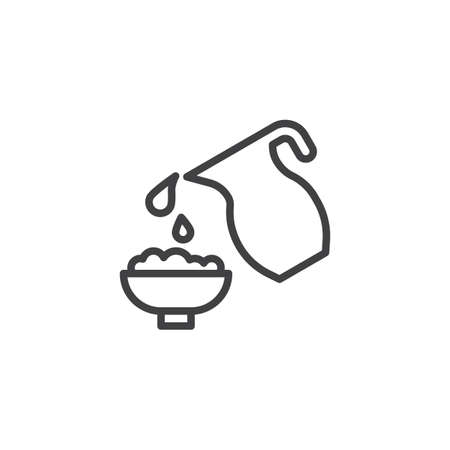 Bowl of porridge and milk jar line icon. linear style sign for mobile concept and web design. Milk porridge outline vector icon. Dairy products symbol, logo illustration. Pixel perfect vector graphics