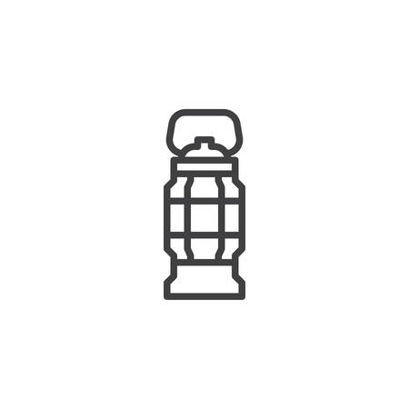 Camping lantern line icon. Handle torch linear style sign for mobile concept and web design. Camp oil lamp outline vector icon. Symbol, logo illustration. Pixel perfect vector graphics Ilustracja