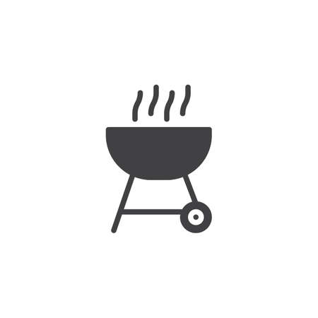 BBQ grill vector icon. filled flat sign for mobile concept and web design. Charcoal Barbecue glyph icon. Symbol, logo illustration. Pixel perfect vector graphics