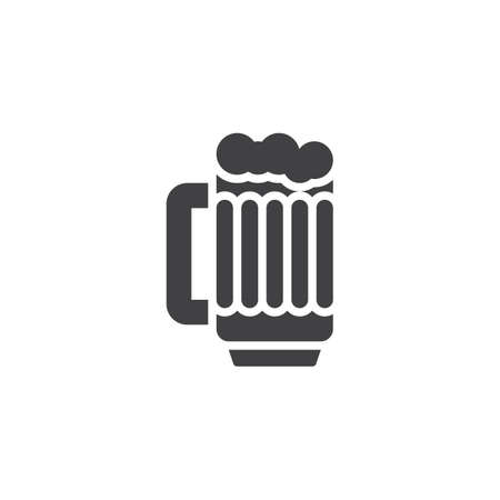 Beer mug with foam vector icon. Glass of alcohol drink filled flat sign for mobile concept and web design. Foamy beer glass glyph icon. Symbol, logo illustration. Pixel perfect vector graphics