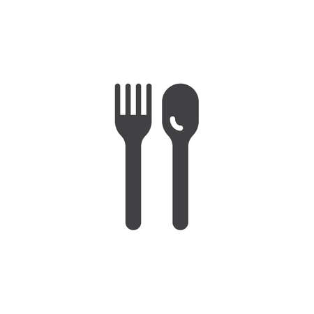 Spoon and fork vector icon. filled flat sign for mobile concept and web design. Kitchen cutlery glyph icon. Symbol, logo illustration. Pixel perfect vector graphics 写真素材 - 120859885