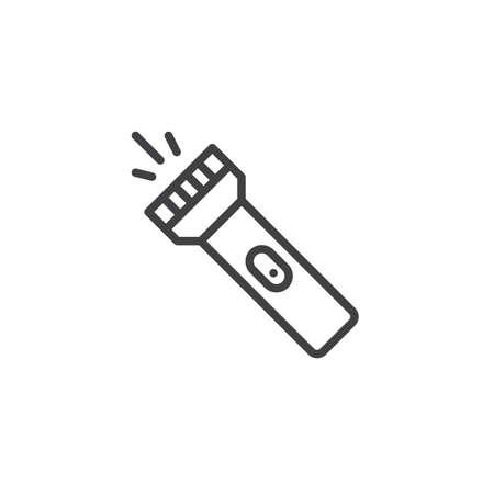 Taschenlampen-Liniensymbol. Lineares Zeichen für mobiles Konzept und Webdesign. Taschenlampe Umriss-Vektor-Symbol. Fackelsymbol, Logoillustration. Vektorgrafiken