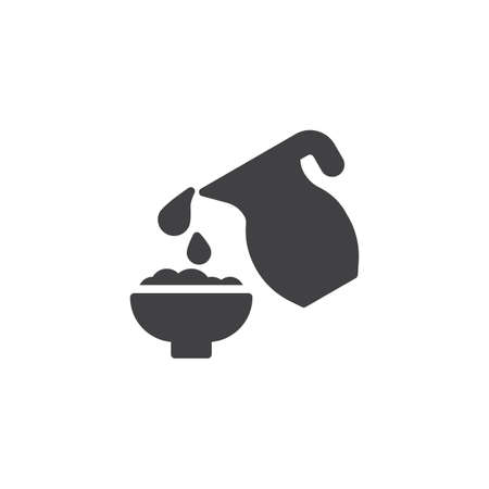 Bowl of porridge and milk jar vector icon. filled flat sign for mobile concept and web design. Milk porridge glyph icon. Dairy products symbol, logo illustration. Pixel perfect vector graphics