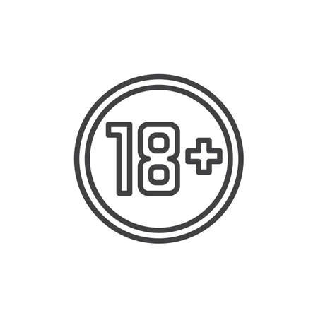 18 age plus sign line icon. linear style sign for mobile concept and web design. Eighteen plus, age limit, sign outline vector icon. Symbol, logo illustration. Pixel perfect vector graphics