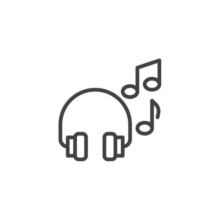 Headphones with music notes line icon. linear style sign for mobile concept and web design. Headset and musical note outline vector icon. Symbol, logo illustration. Pixel perfect vector graphics Illustration