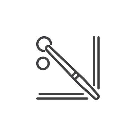 Pool billiards table top view line icon. linear style sign for mobile concept and web design. Snooker balls and cue outline vector icon. Symbol, logo illustration. Pixel perfect vector graphics Illustration