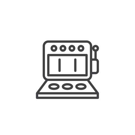 Retro music machine line icon. linear style sign for mobile concept and web design. Jukebox machine outline vector icon. Symbol, logo illustration. Pixel perfect vector graphics
