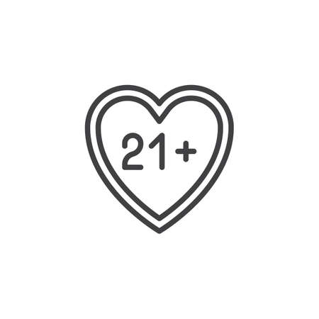 21 content heart line icon. linear style sign for mobile concept and web design. Adults only, love outline vector icon. Symbol, logo illustration. Pixel perfect vector graphics