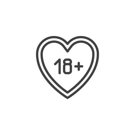 18 content heart line icon. linear style sign for mobile concept and web design. Adults only, love outline vector icon. Symbol, logo illustration. Pixel perfect vector graphics Ilustração