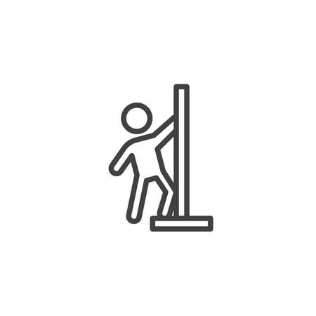 Pole dancer line icon. Strip club linear style sign for mobile concept and web design. Striptease Dance outline vector icon. Nightlife symbol, logo illustration. Pixel perfect vector graphics