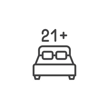 21 age content line icon. linear style sign for mobile concept and web design. Double hotel bed room with 21 number outline vector icon. Adults only symbol, logo illustration. Pixel perfect vector