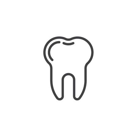 Dental tooth line icon. linear style sign for mobile concept and web design. Healthy human tooth outline vector icon. Dentistry, stomatology and dental care symbol, logo illustration. Pixel perfect