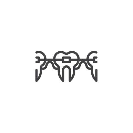 Teeth with Dental Braces line icon. linear style sign for mobile concept and web design. Dental care outline vector icon. Symbol, logo illustration. Pixel perfect vector graphics