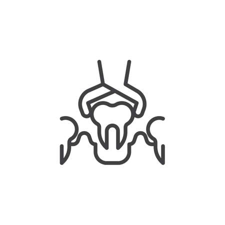 Dental Surgery line icon. linear style sign for mobile concept and web design. Dental Removal Diseased Tooth by Medical Forceps outline vector icon. Symbol, logo illustration. Pixel perfect vector Logó
