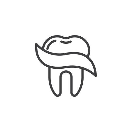 Dental care line icon. linear style sign for mobile concept and web design. Tooth protection outline vector icon. Dentistry, stomatology symbol, logo illustration. Pixel perfect vector Çizim