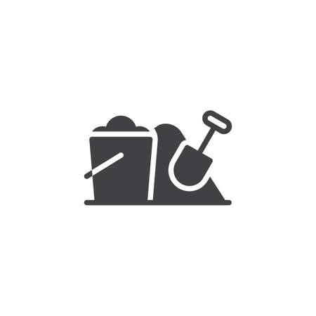 Sand bucket and shovel vector icon. filled flat sign for mobile concept and web design. Toy bucket and spade glyph icon. Sandbox symbol, logo illustration Illustration