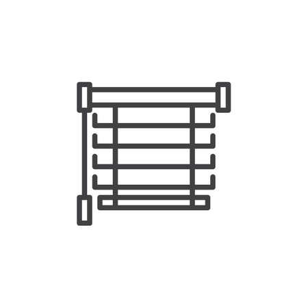 Icône de ligne de stores de fenêtre. Signe de style linéaire de persiennes pour le concept mobile et la conception Web. Icône de vecteur de contour de jalousie. Symbole, illustration du logo. Pixel graphiques vectoriels parfaits