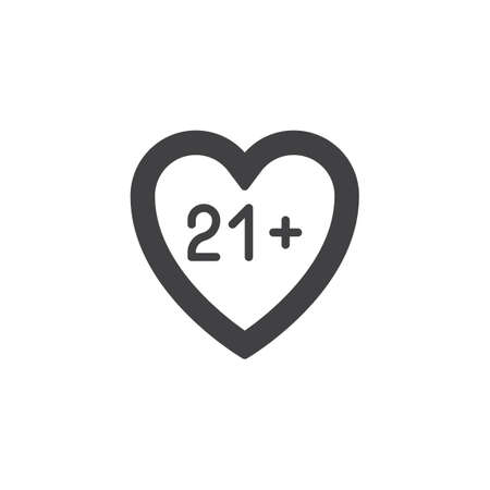 21 content heart vector icon. filled flat sign for mobile concept and web design. Adults only, love glyph icon. Symbol, logo illustration. Pixel perfect vector graphics