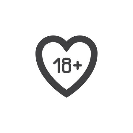 18 content heart vector icon. filled flat sign for mobile concept and web design. Adults only, love glyph icon. Symbol, logo illustration. Pixel perfect vector graphics