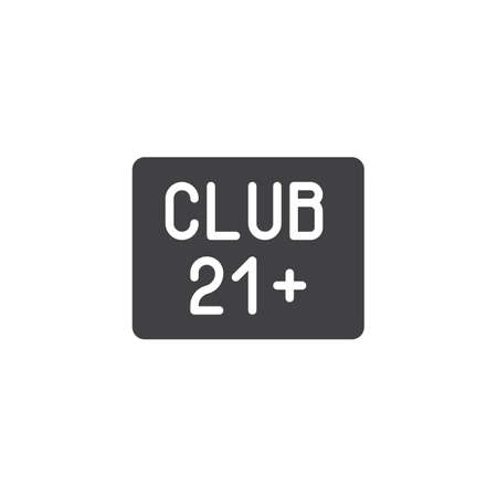 21 club sign vector icon. filled flat sign for mobile concept and web design. Adults only club glyph icon. Nightlife symbol, logo illustration. Pixel perfect vector graphics