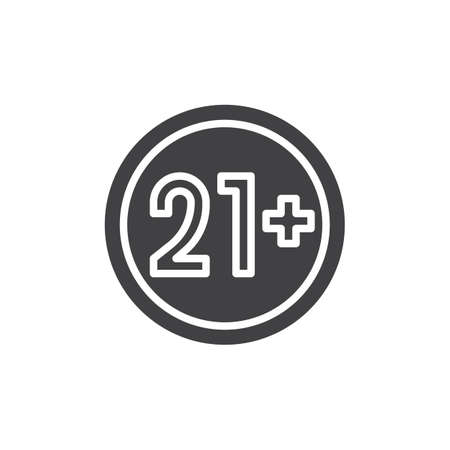 21 plus years old sign vector icon. filled flat sign for mobile concept and web design. Under 21 not allowed glyph icon. Adults content symbol, logo illustration. Pixel perfect vector graphics