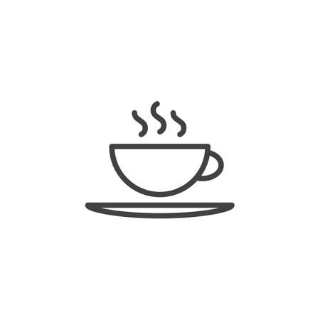 Hot coffee cup and saucer line icon. linear style sign for mobile concept and web design. Tea cup with hot drink outline vector icon. Breakfast symbol, logo illustration. Pixel perfect vector graphics Vectores