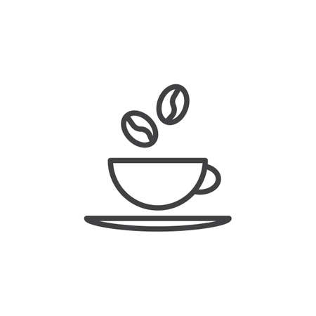 Coffee cup line icon. linear style sign for mobile concept and web design. Coffee beans and cup with saucer outline vector icon. Coffee shop symbol, logo illustration. Pixel perfect vector graphics