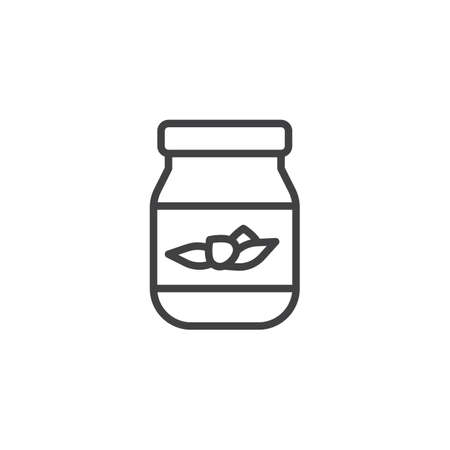 Jam jar line icon. linear style sign for mobile concept and web design. Glass jar jam outline vector icon. Symbol, logo illustration. Pixel perfect vector graphics
