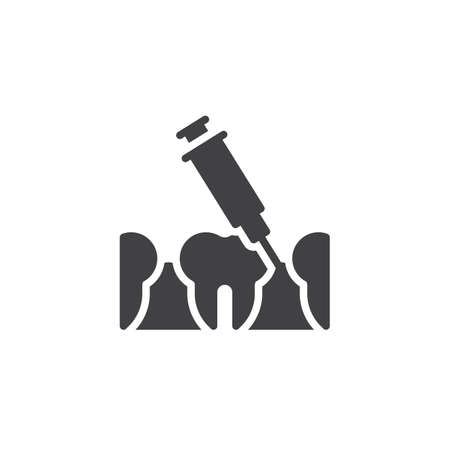 Dental injection vector icon. Syringe and anesthetizing teeth filled flat sign for mobile concept and web design. Dental anesthesia glyph icon. Symbol, logo illustration. Pixel perfect vector graphics Illustration