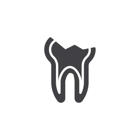 Decayed teeth vector icon. Chipped tooth broke filled flat sign for mobile concept and web design. Cracked tooth glyph icon. Dentistry, stomatology and dental care symbol, logo illustration.