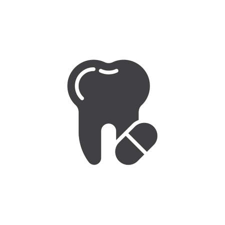 Toothache painkiller tablet vector icon. Tooth and pill filled flat sign for mobile concept and web design. Tooth care medicine glyph icon. Symbol, logo illustration. Pixel perfect vector graphics