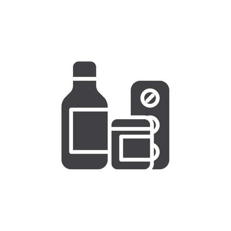 Medicine bottle and pills vector icon. filled flat sign for mobile concept and web design. Medical drugs glyph icon. Healthcare symbol, logo illustration. Pixel perfect vector graphics Illusztráció