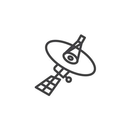 Satellite dish line icon. linear style sign for mobile concept and web design. Satellite antenna outline vector icon. Symbol, logo illustration. Pixel perfect vector graphics Vettoriali