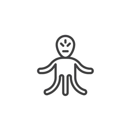 Alien monster line icon. linear style sign for mobile concept and web design. Three legs humanoid outline vector icon. Symbol, logo illustration. Pixel perfect vector graphics Illusztráció