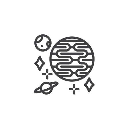 Space planets line icon. linear style sign for mobile concept and web design. Galaxy planets and stars outline vector icon. Symbol, logo illustration. Pixel perfect vector graphics