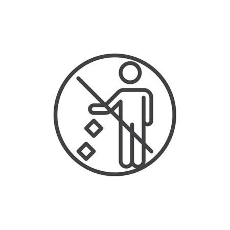 Do not litter prohibition sign line icon. linear style sign for mobile concept and web design. Keep it clean outline vector icon. Symbol, logo illustration. Pixel perfect vector graphics