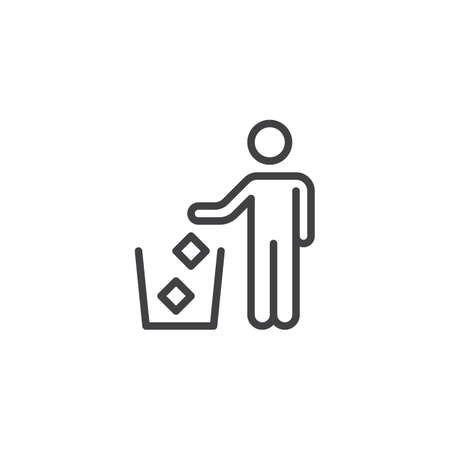 Do not litter line icon. linear style sign for mobile concept and web design. Trash bin area outline vector icon. Symbol, logo illustration. Pixel perfect vector graphics Illustration