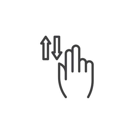2x vertical scroll line icon. Up and down hand swipe linear style sign for mobile concept and web design. Two finger touch gesture outline vector icon. Symbol, logo illustration. Vector graphics