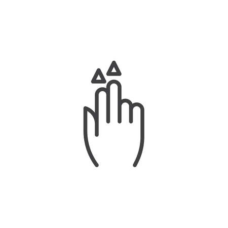2x flick up line icon. Hand Double Click linear style sign for mobile concept and web design. Two finger touch gesture outline vector icon. Symbol, logo illustration. Pixel perfect vector graphics