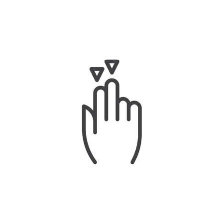2x drag down line icon. Hand Click linear style sign for mobile concept and web design. Two finger touch gesture outline vector icon. Symbol, logo illustration. Pixel perfect vector graphics