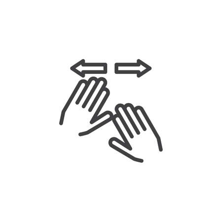 Horizontal spread line icon. Two Hand swipe Click linear style sign for mobile concept and web design. Fingers touch gesture outline vector icon. Symbol, logo illustration. Pixel perfect vector
