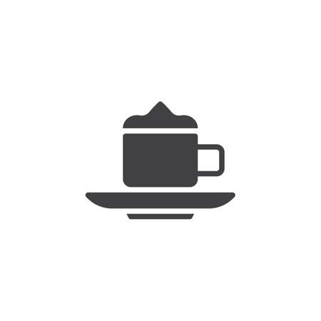 Cup of coffee with foam vector icon. filled flat sign for mobile concept and web design. Coffee Latte or Cappuccino glyph icon. Symbol, logo illustration. Pixel perfect vector graphics