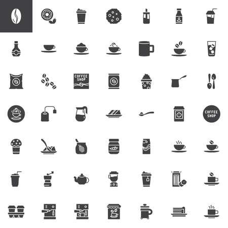 Conjunto de iconos de vector de cafetería, colección de símbolo sólido moderno, paquete de pictogramas de estilo lleno. Signos, ilustración del logo. El juego incluye iconos como granos de café, café con leche, capuchino, cafetera, cezve turco
