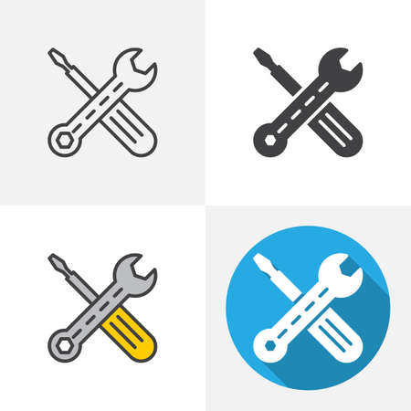 Wrench and screwdriver icon. Line, glyph, flat and filled outline colorful version, Maintenance outline and flat vector sign. Symbol, logo illustration. Different style icons set