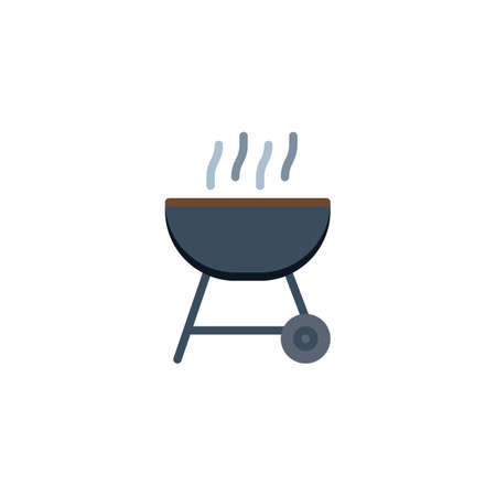 Charcoal Barbecue flat icon, vector sign, BBQ grill colorful pictogram isolated on white. Symbol, logo illustration. Flat style design