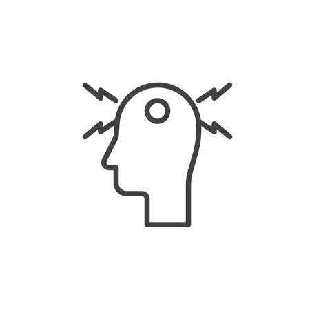 Headache line icon. linear style sign for mobile concept and web design. Migraine, stress outline vector icon. Symbol, logo illustration. Pixel perfect vector graphics Иллюстрация