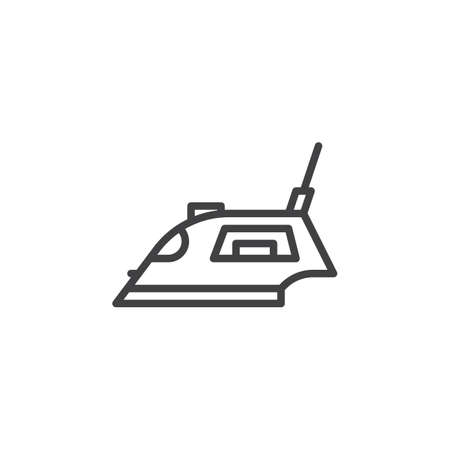 Electric iron line icon. linear style sign for mobile concept and web design. Steam iron outline vector icon. Symbol, logo illustration. Pixel perfect vector graphics